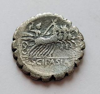 106 Bc Scipio Africanus (defeated Hannibal) Roman Republic Denarius Ancient Coin photo