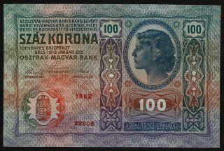 Austria Hungary 100 Kronen 1912 Xf P.  12 photo