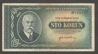 Czechoslovakia 100 Korun N.  D.  (1945),  F,  P - 63a,  Printed In England,  Wwii photo