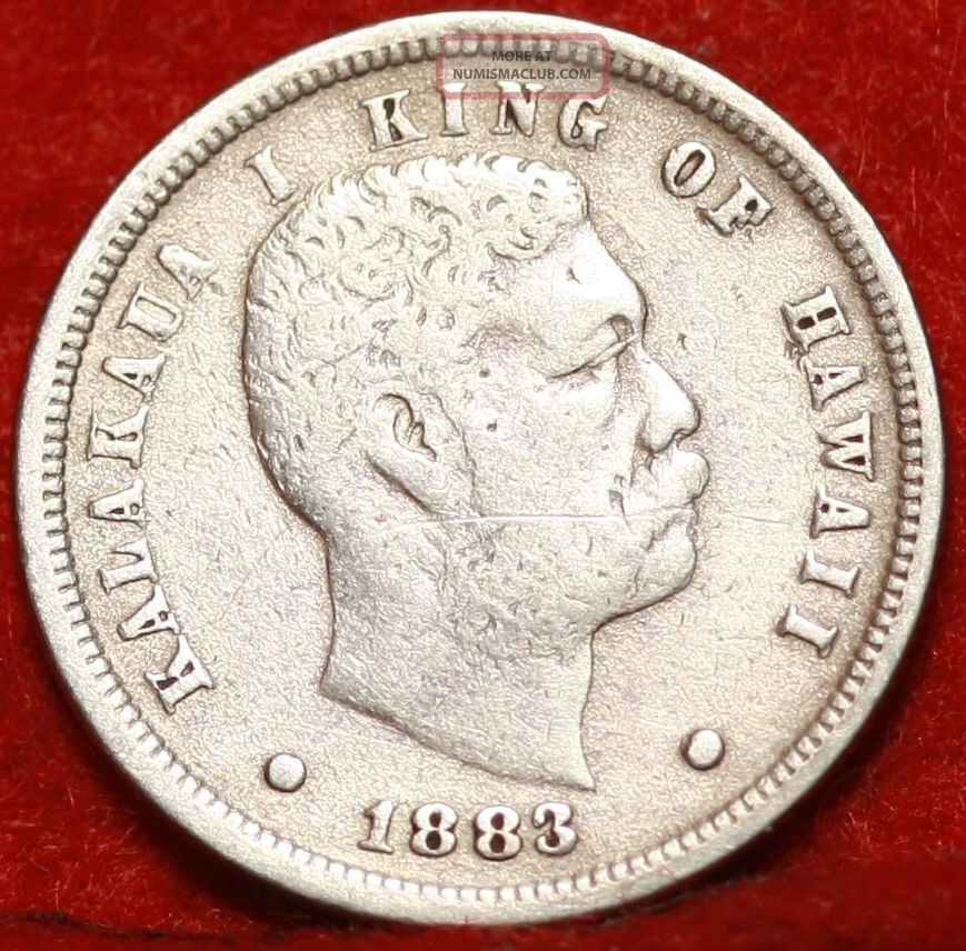 1883 Hawaii 10 Cents Silver Foreign Coin S H