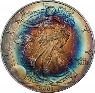 2001 American Silver Eagle,  Colorful Target Toning photo