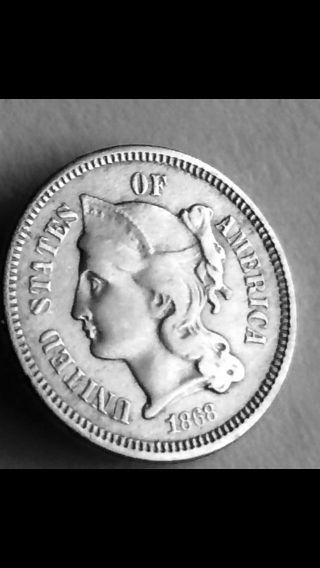 1868 3cn Three Cent Piece Nickel photo