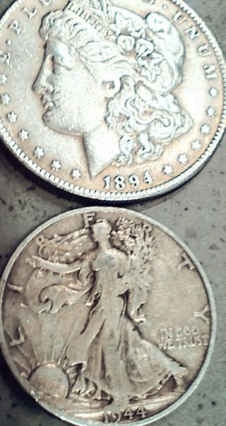 1944 - S Walking Liberty Half Dollar,  Frosty.  And 1894 - P Morgan.  Very Rare=costly. photo