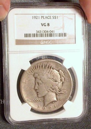 1921 Ngc Vg08 Peace Silver Dollar Key Date High Relief Very Good Type Coin Vg8 photo