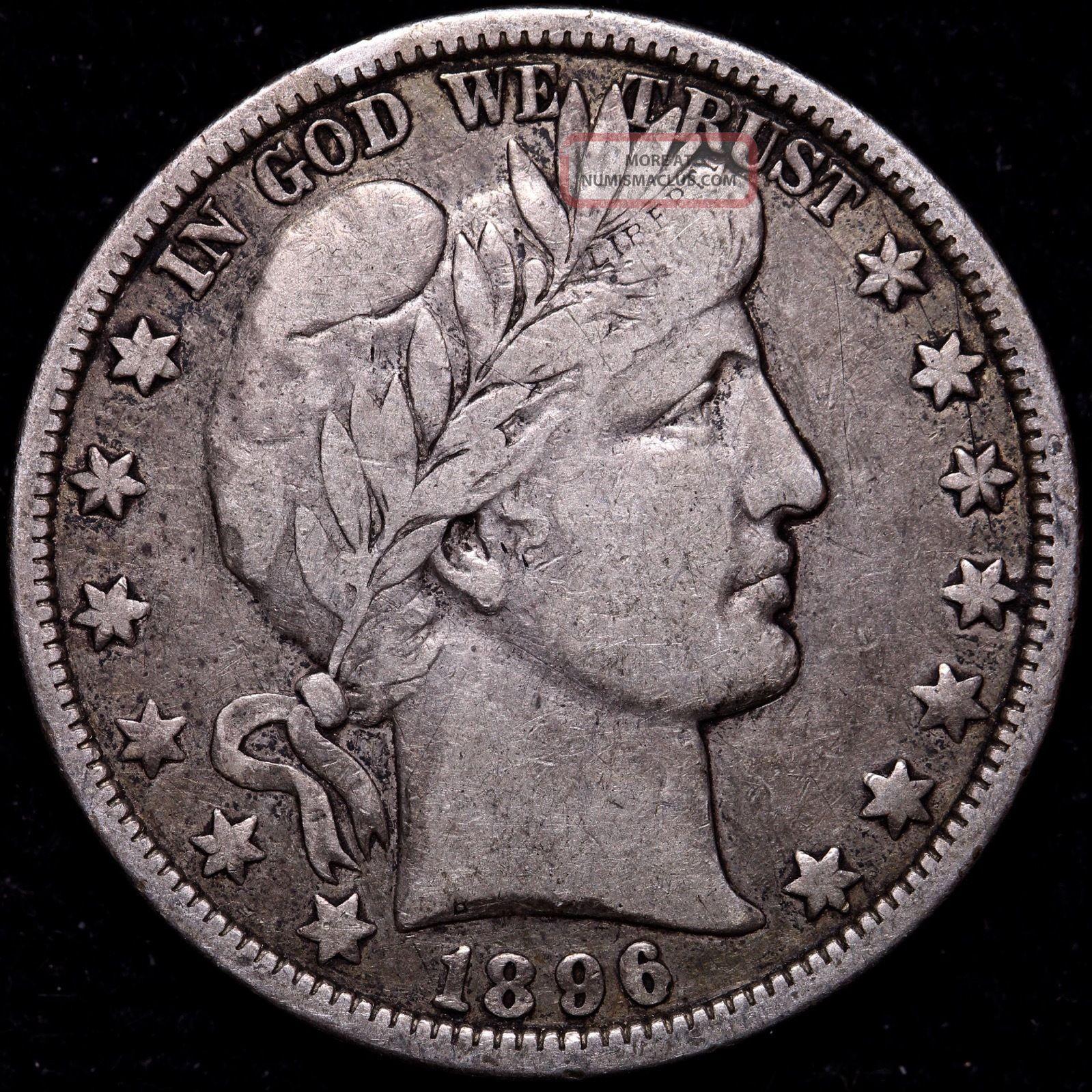 Vf 1896 - O Barber Half Dollar Key Date R5qnax Half Dollars photo