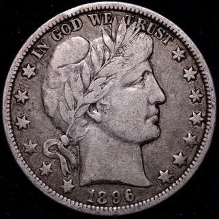 Vf 1896 - O Barber Half Dollar Key Date R5qnax photo