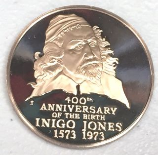 C2201 Inigo Jones Bronze Medal,  400th Anniversry Of Birth 1973 photo