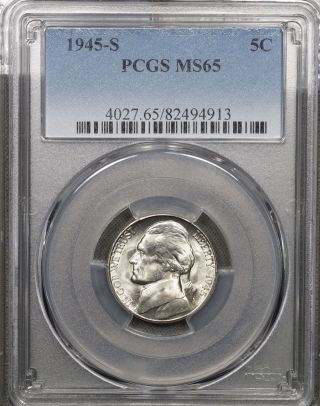 1945 S Jefferson Nickel 5c,  Pcgs Ms65,  Lustrous Gem photo