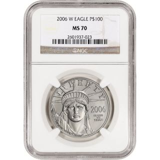 2006 - W American Platinum Eagle (1 Oz) $100 - Burnished - Ngc Ms70 photo