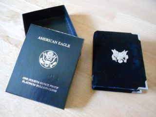 1999 - W Platinum Proof 1/4 Once American Eagle Coin With Case/coa photo