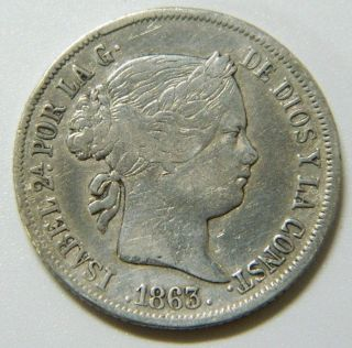 Isabel Ii - 4 Reales 1863 Sevilla - Spain Silver Coin - Spanish photo