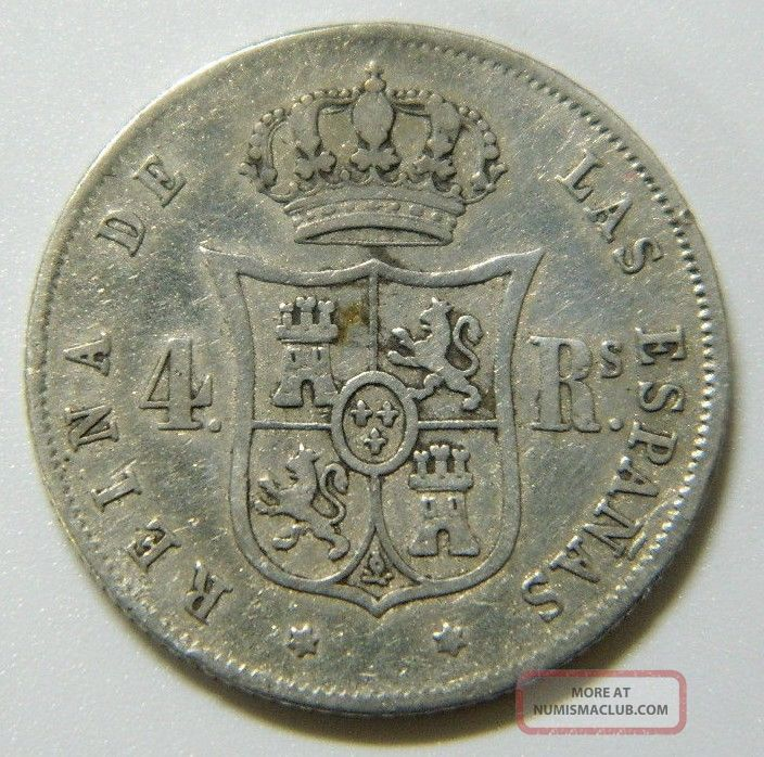 Isabel Ii 4 Reales 1863 Sevilla Spain Silver Coin