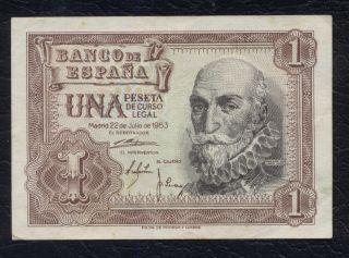 Spain EspaÑa 1 Peseta 1953 Xf,  P.  144a Marques De Santa Cruz photo