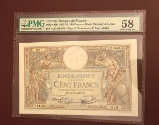 France French 100 Franc Pmg Aunc 58 Pick 86b 1938 Rare Date photo