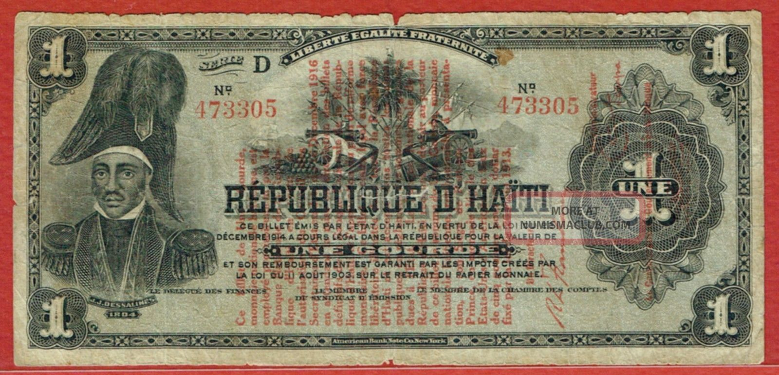 Republique D ' Haiti Law 1916 Red Overprint 1 Gourde (pick 137) North & Central America photo
