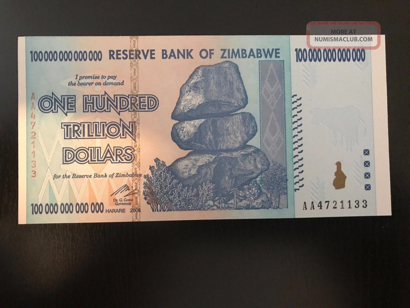 100 - Trillion Zimbabwe Dollars Unc Banknote 2008 Aa Africa photo