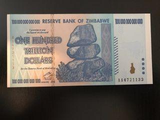 100 - Trillion Zimbabwe Dollars Unc Banknote 2008 Aa photo