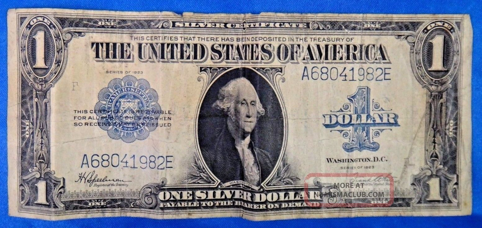 1923 $1 Silver Certificate Blue Seal Us Currency Bill Note Large Size Notes photo