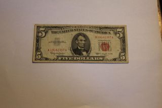 Vintage $5 1963 Lincoln Red Seal United States Note - Ser.  A19162357 A photo