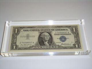 1957 Uncirculated $1 Usa One Dollar Silver Certificate Blue Seal 3/4 Inch Lucite photo