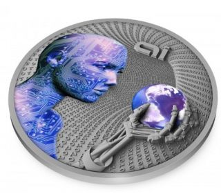2016 Artificial Intelligence - Code Of The Future 2oz Silver Proof On photo