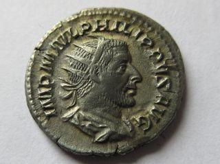 Silver - Antoninian Of Philippus I.  (arabs) Rv.  Salus Standing Left photo