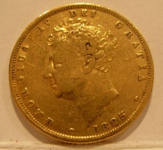 Great Britain 1825 Gold Sovereign Xf George 4 photo