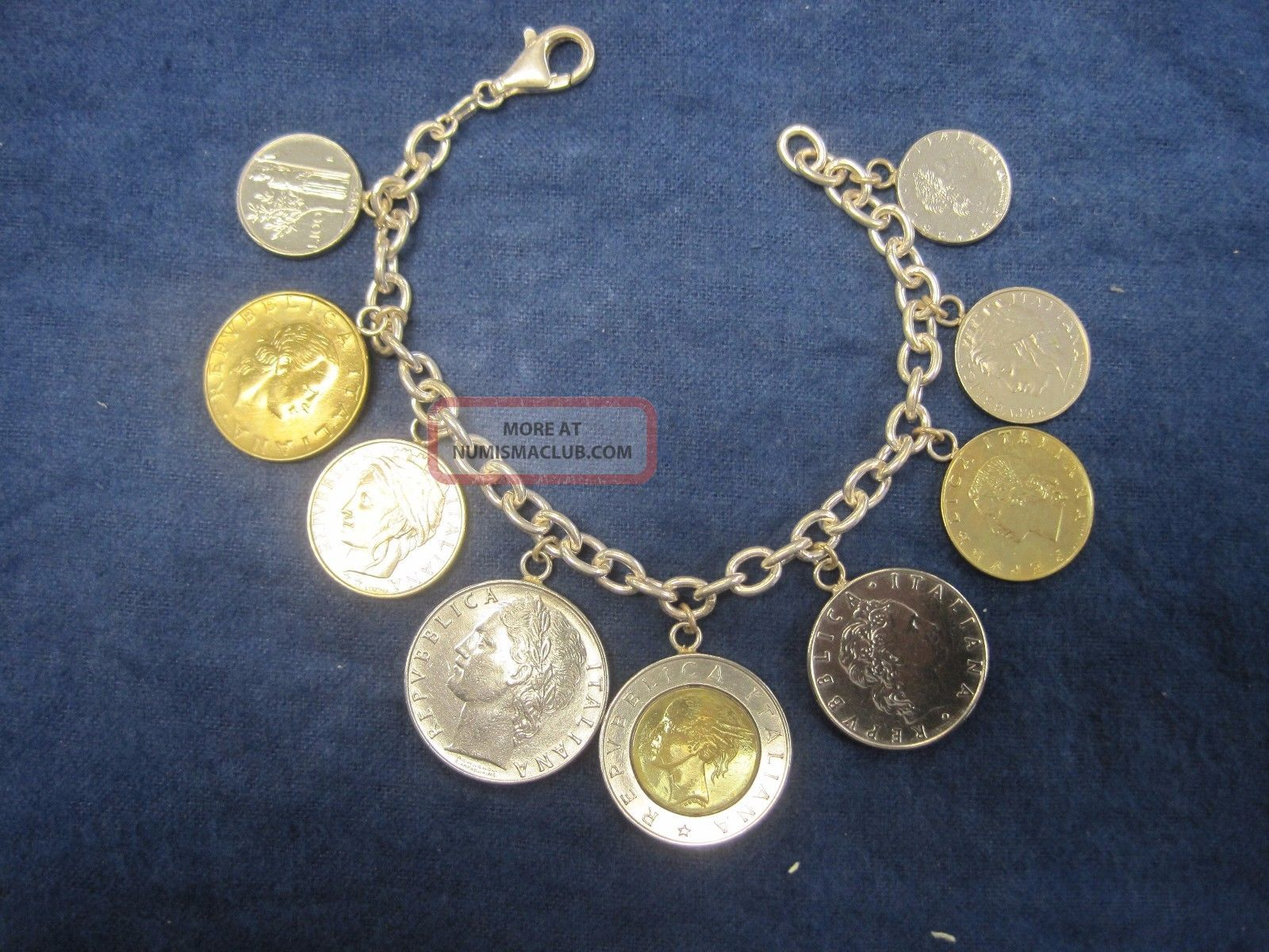 Vintage Milor Italy 925 Italian Coin Rolo Link Sterling Bracelet Italy, San Marino, Vatican photo