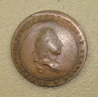1796 Friends For The Abolition Of Slavery British Anti - Slavery Conder Halfpenny photo