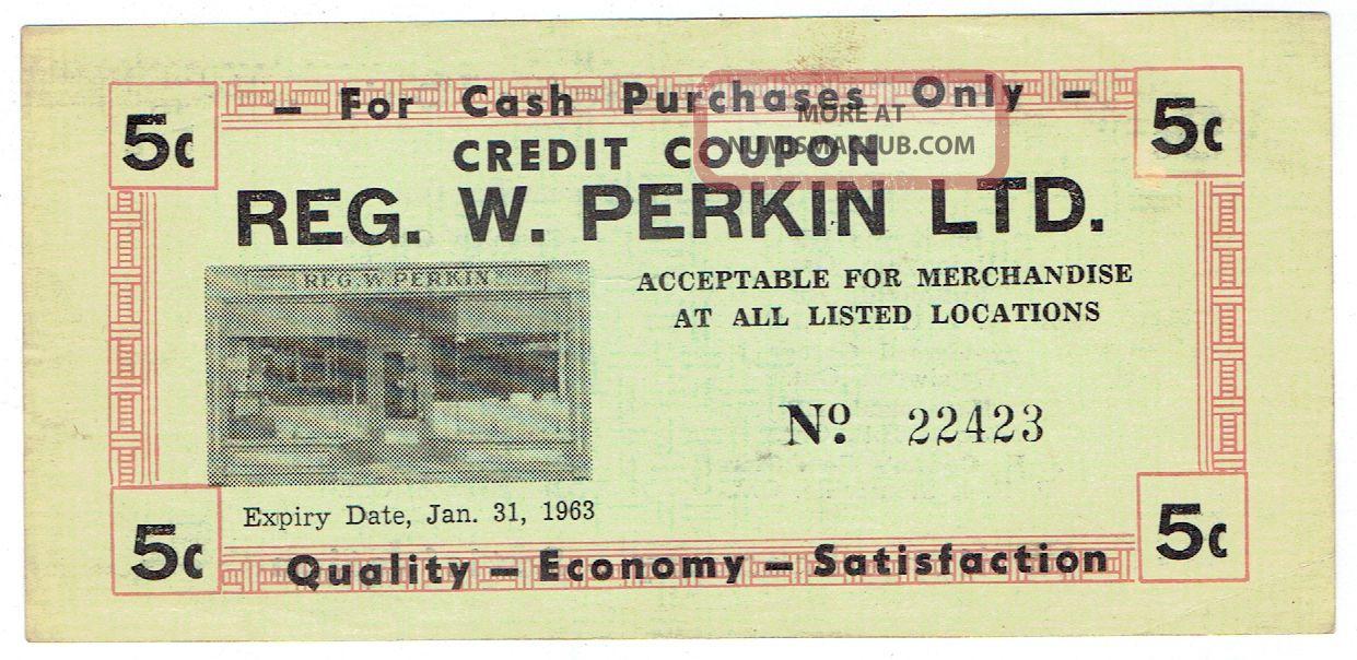 1963 Reg W.  Perkin Ltd 5 Cent Credit Coupon - Union Hardware Unionville,  Ontario Canada photo