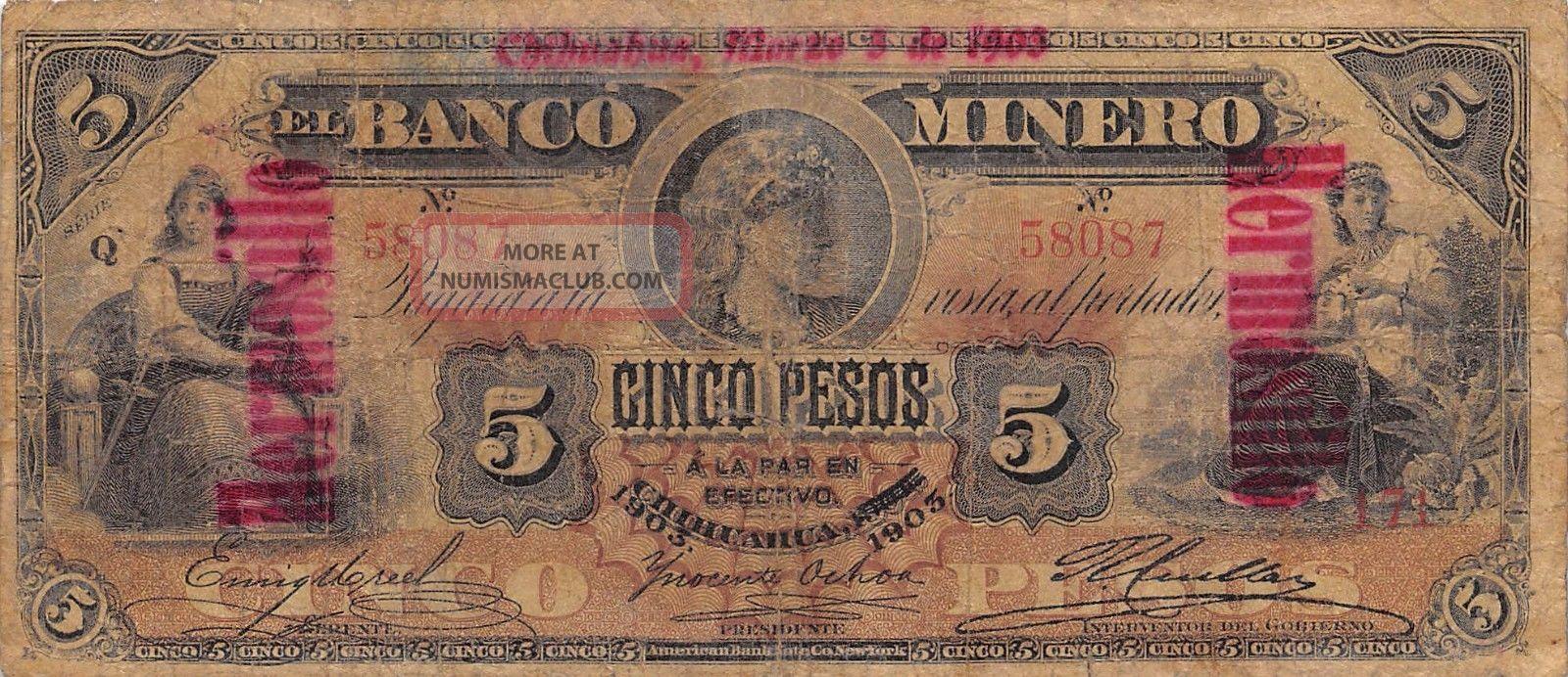 México / Hermosillo / Chihuahua 5 Pesos 3.  3.  1903 Series Q Circulated Banknote North & Central America photo