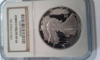 1990 - S Proof Silver American Eagle Pf - 69 Ultra Cameo Ngc photo