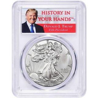2017 1oz Silver Eagle Pcgs Ms69 - First Strike - Donald Trump Label photo