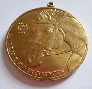 Belgian Jumping Horse Contest Prize Bronze Pendant Medal photo