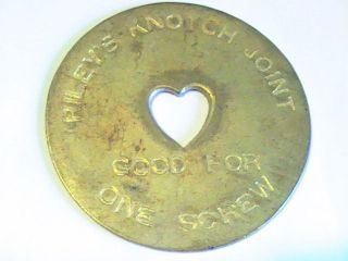 Riley ' S Knotch Joint Good For One Screw Brothel Token Heart 45mm photo