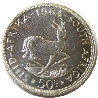 Elf South Africa 50 Cents 1964 Silver Springbok photo