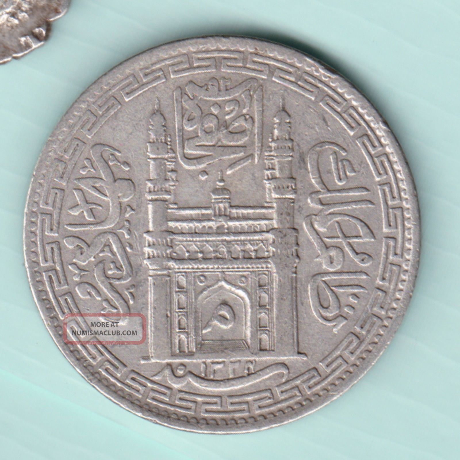 Hyderabad State - Ah 1324 - Mim On Doorway - One Rupee - Rare Silver Coin India photo