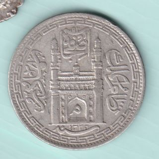 Hyderabad State - Ah 1324 - Mim On Doorway - One Rupee - Rare Silver Coin photo