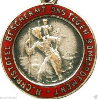 Saint Christopher Protection Against Bombardments - Rare 1929 Antique Medal photo