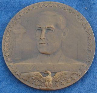Wwi Wilson Bronze Allegorical Commemorative Medal Medallion Gregoire 1917 Paris photo