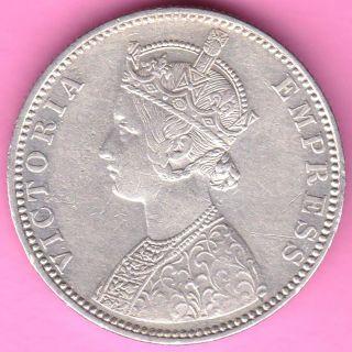 British India - 1888 - One Rupee - Victoria Queen - Silver Coin - 12 photo