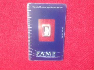 1 Gram Platinum Bar - Pamp Suisse - Fortuna - 999.  5 Fine In Assay photo
