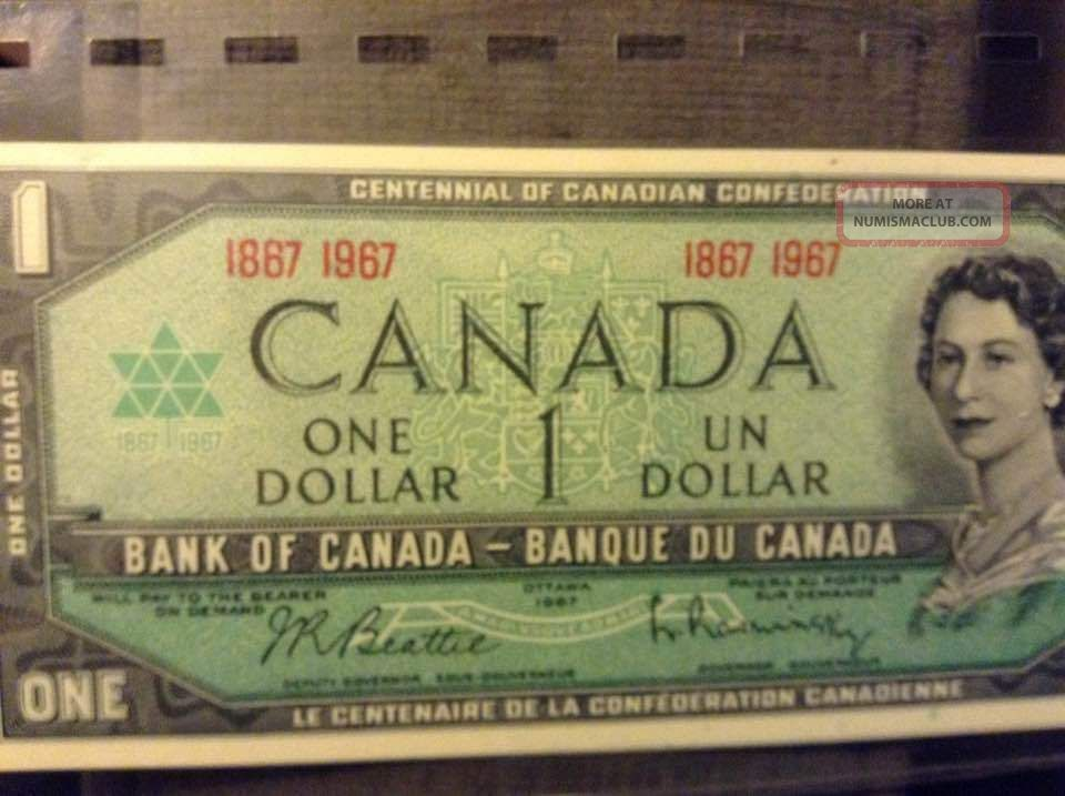 1967 Dollar Bill Canadian Note Shape Canada photo