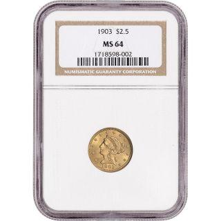 1903 Us Gold $2.  50 Liberty Head Quarter Eagle - Ngc Ms64 photo