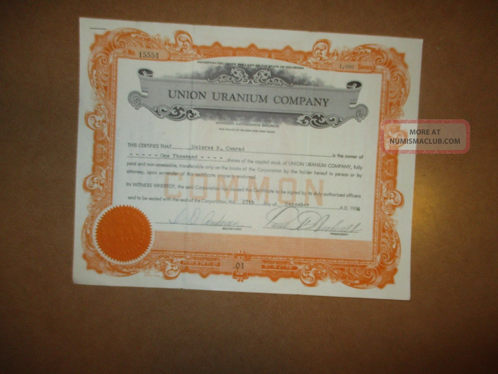Old Union Uranium Company. ,  Stock Certificate 1000 Shares 1956 Stocks & Bonds, Scripophily photo