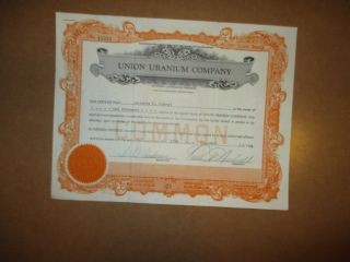 Old Union Uranium Company. ,  Stock Certificate 1000 Shares 1956 photo