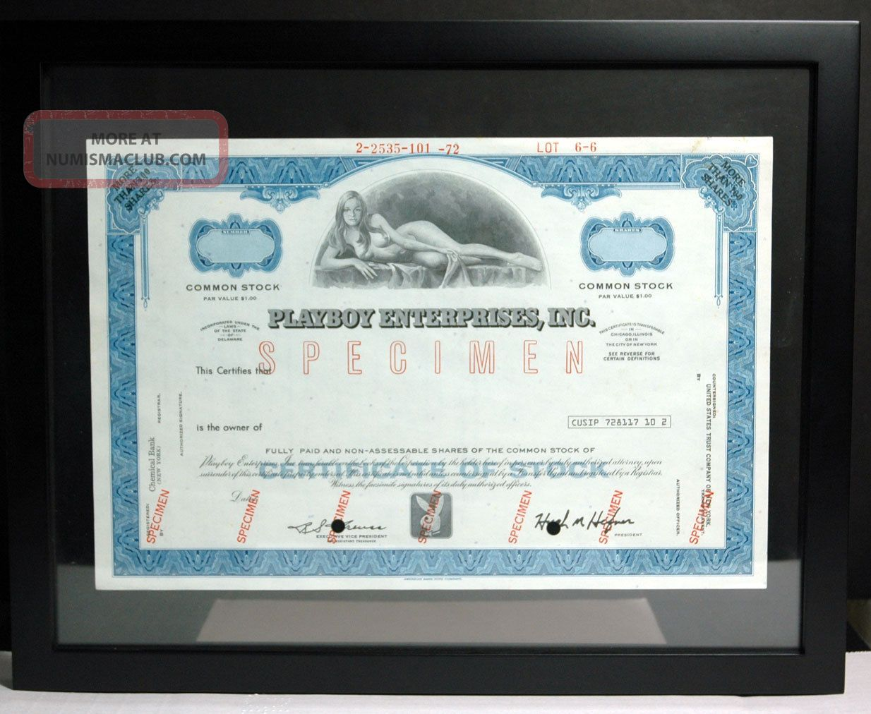 Playboy Stock Specimen Rare Blue Willy Rey Playmate Framed Hefner Signed Unique Stocks & Bonds, Scripophily photo