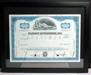 Playboy Stock Specimen Rare Blue Willy Rey Playmate Framed Hefner Signed Unique photo