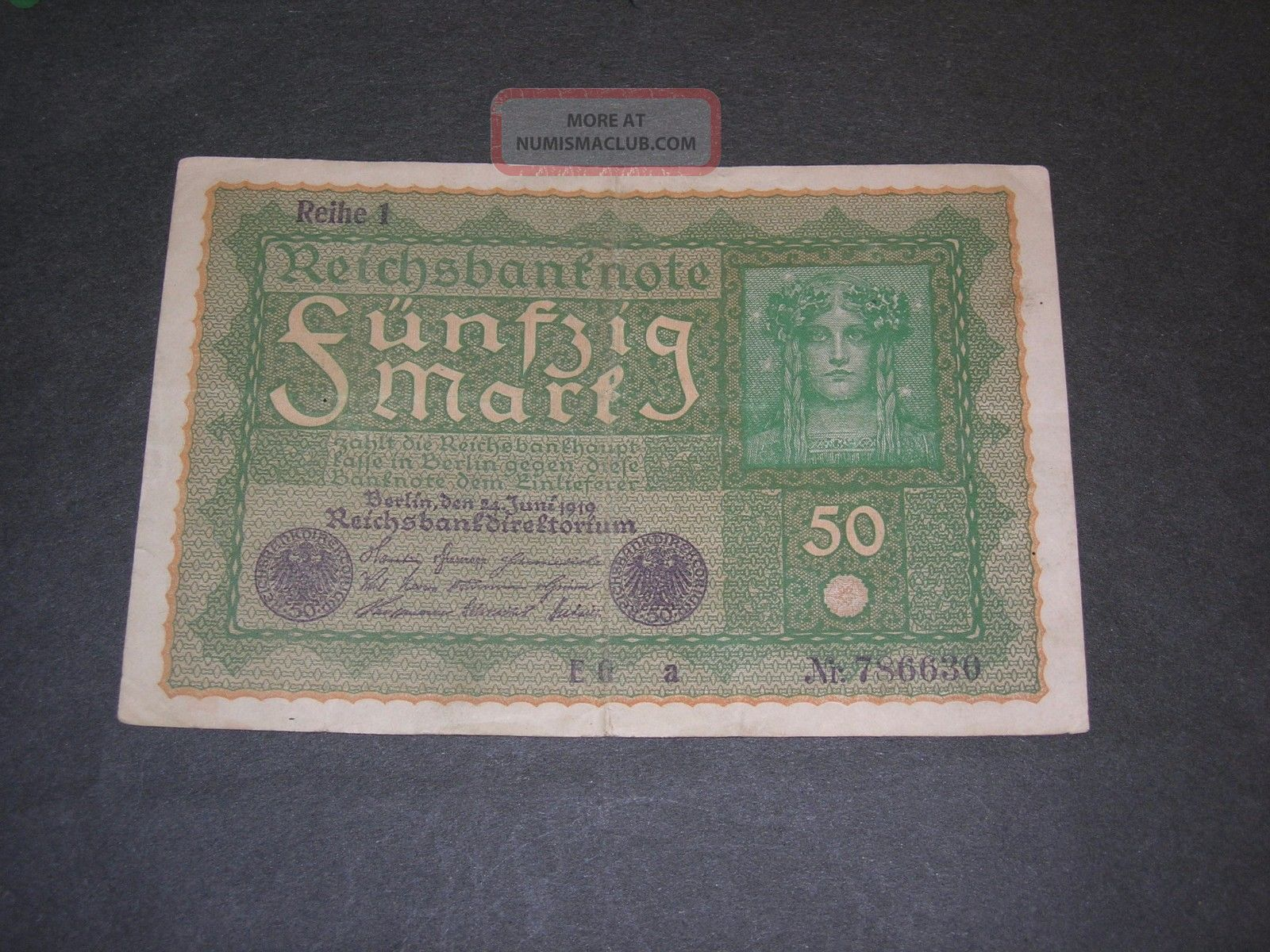 Germany 1919 50 Mark Banknote Early Inflation Era Europe photo