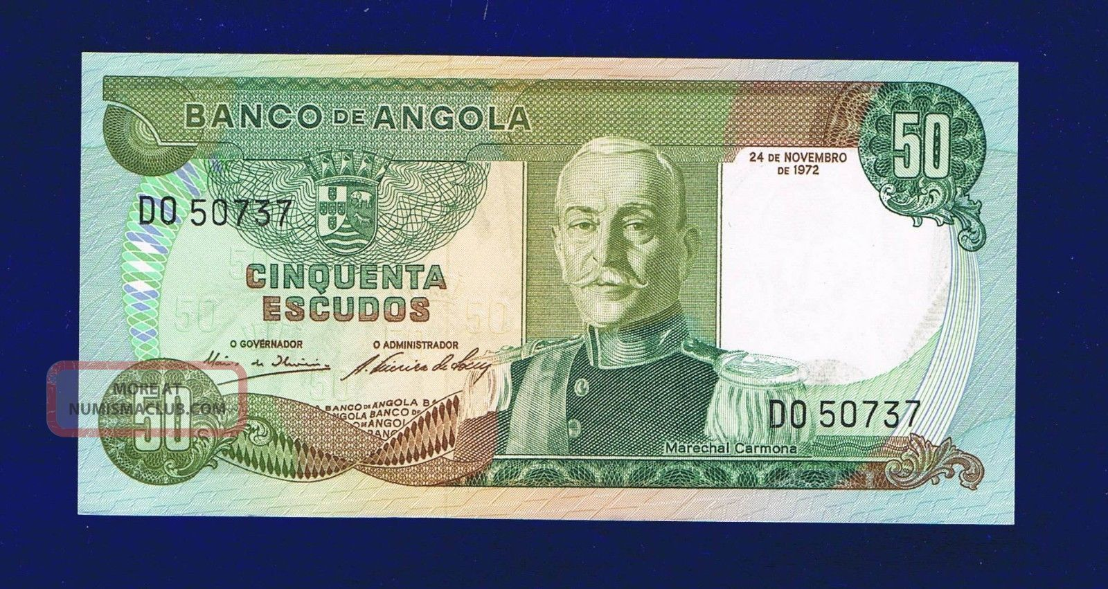 Angola Banknote 50 Escudos 1972 Unc Do50737 Africa photo